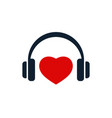 headphones and heart icon vector image vector image