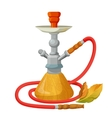 Hookah calabash with one long red pipe isolated on vector image vector image