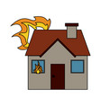 house on fire icon image vector image vector image