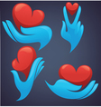 human hands and decorative heart vector image vector image