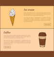 ice cream and coffee in cup vector image vector image