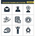 Icons set premium quality of basic education vector image vector image