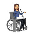 isolated girl in wheelchair on vector image vector image