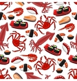 Japanese seafood cuisine seamless pattern vector image vector image