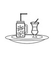 milk shake and coffee jar vector image vector image
