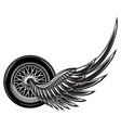 monochrome pattern with wheel and wings vector image vector image