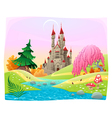 Mythological landscape with medieval castle vector image vector image