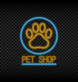 neon light sign of pet shop vector image vector image