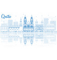 outline quito skyline with blue buildings and vector image vector image