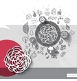 Paper and hand drawn flower emblem with icons vector image