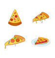 pizza slice icon set cartoon style vector image