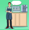 pop art barista with cup of coffee in cafe vector image vector image
