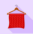 red towel on coat hanger icon flat style vector image vector image