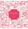 Romantic doodle hearts frame seamless pattern vector image vector image