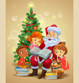 santa claus reading the book to children vector image vector image