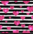 seamless pattern for valentines day with black vector image