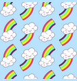 seamless pattern with cloud and rainbow vector image vector image