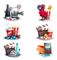 Set Of 3d Cartoon Cinema Design Concepts vector image