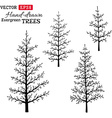 Set of hand-drawn evergreen trees vector image vector image