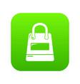 shopping bag icon green vector image vector image