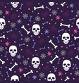skull and spider seamless pattern on blue vector image vector image