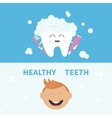 Tooth holding toothpaste and toothbrush Smiling vector image vector image