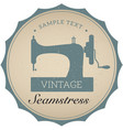 vintage emblem of retro sewing machine vector image vector image