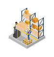 warehouse logistics isometric 3d icon vector image vector image