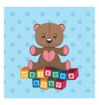 welcome baby greeting with teddy vector image