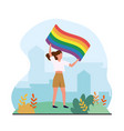 woman with rainbow flag to freedom parade vector image vector image