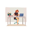 worker doing remote job or woman working from home vector image