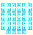 Alphabet Set letters in blue squares vector image