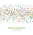 Colorful dog paw prints background isolated on vector image