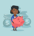 african-american business woman holding piggy bank vector image vector image