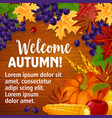 autumn or welcome fall poster of foliage vector image vector image