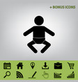 baby sign black icon at gray vector image vector image