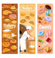 bakery shop bread and pastry cakes baker work vector image vector image