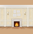 begue wall with pilasters fireplace and sconces vector image vector image