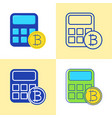 bitcoin calculator icon set in flat and line style vector image vector image