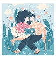 book fans literature lovers couple young people vector image vector image