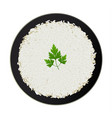 bowl of white rice with parsley isolated on white vector image vector image