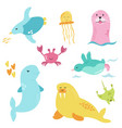 bright set with cute marine animals vector image vector image
