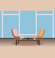 chairs tea table furnitiure window teapot vector image vector image