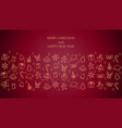 christmas banner line icons on red background vector image vector image