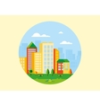 city landscape with playground in front it vector image