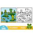 coloring book nine frogs vector image vector image