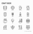 craft beer thin line icons set vector image vector image