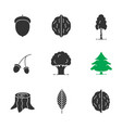 forestry glyph icons set vector image