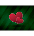 green abstract background with two hearts vector image