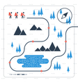 Group of people on trail map vector image
